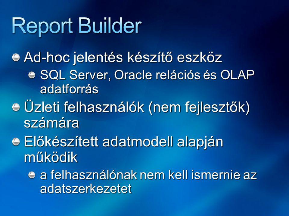 WinForms (.NET Framework) alkalmazás Külön kell telepíteni, de része lesz a RS-nek Majdnem annyit tud, mint a BI Studio Magyar felület Közvetlen adatokból és modellből is Az elkészített jelentések a RS kiszolgálóra menthetők