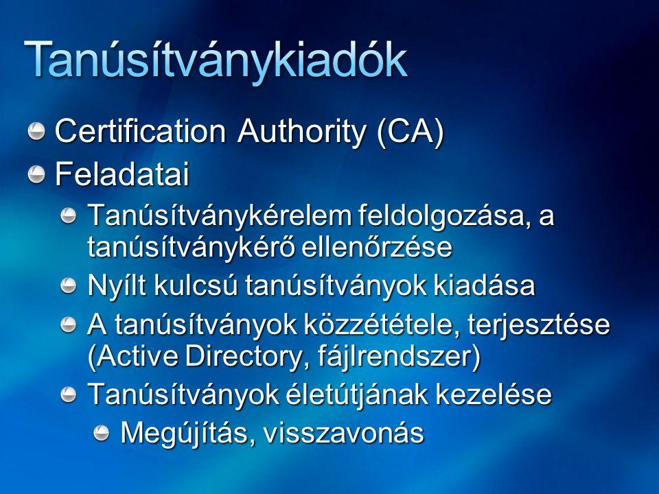 Certification Authority (CA) Feladatai Tanúsítványkérelem feldolgozása, a tanúsítványkérő ellenőrzése Nyílt kulcsú tanúsítványok kiadása A tanúsítvány