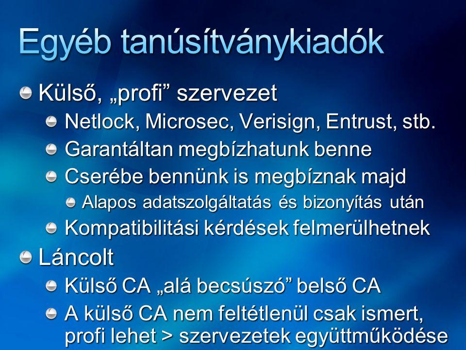 """Külső, """"profi"""" szervezet Netlock, Microsec, Verisign, Entrust, stb. Garantáltan megbízhatunk benne Cserébe bennünk is megbíznak majd Alapos adatszolgá"""