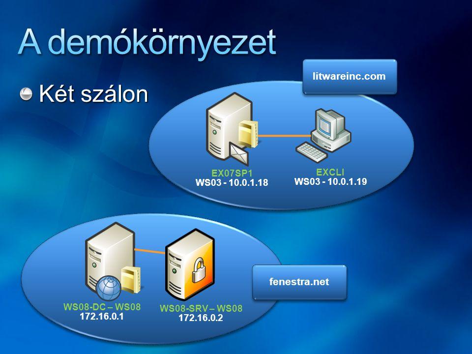 Két szálon litwareinc.com fenestra.net EX07SP1 WS03 - 10.0.1.18 EXCLI WS03 - 10.0.1.19 WS08-DC – WS08 172.16.0.1 WS08-SRV – WS08 172.16.0.2