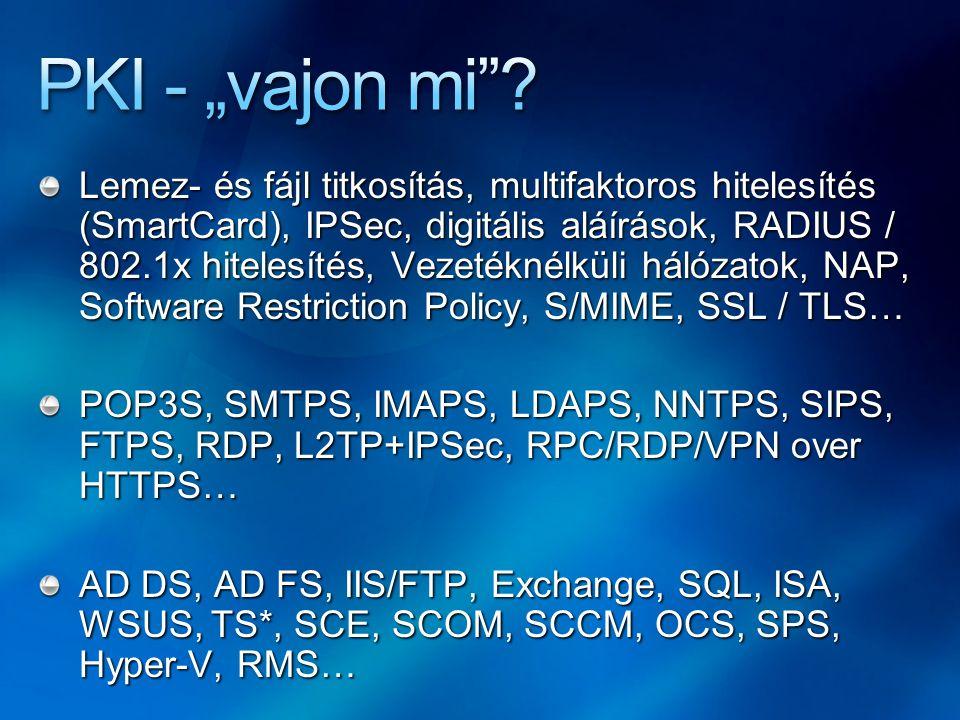 Lemez- és fájl titkosítás, multifaktoros hitelesítés (SmartCard), IPSec, digitális aláírások, RADIUS / 802.1x hitelesítés, Vezetéknélküli hálózatok, N