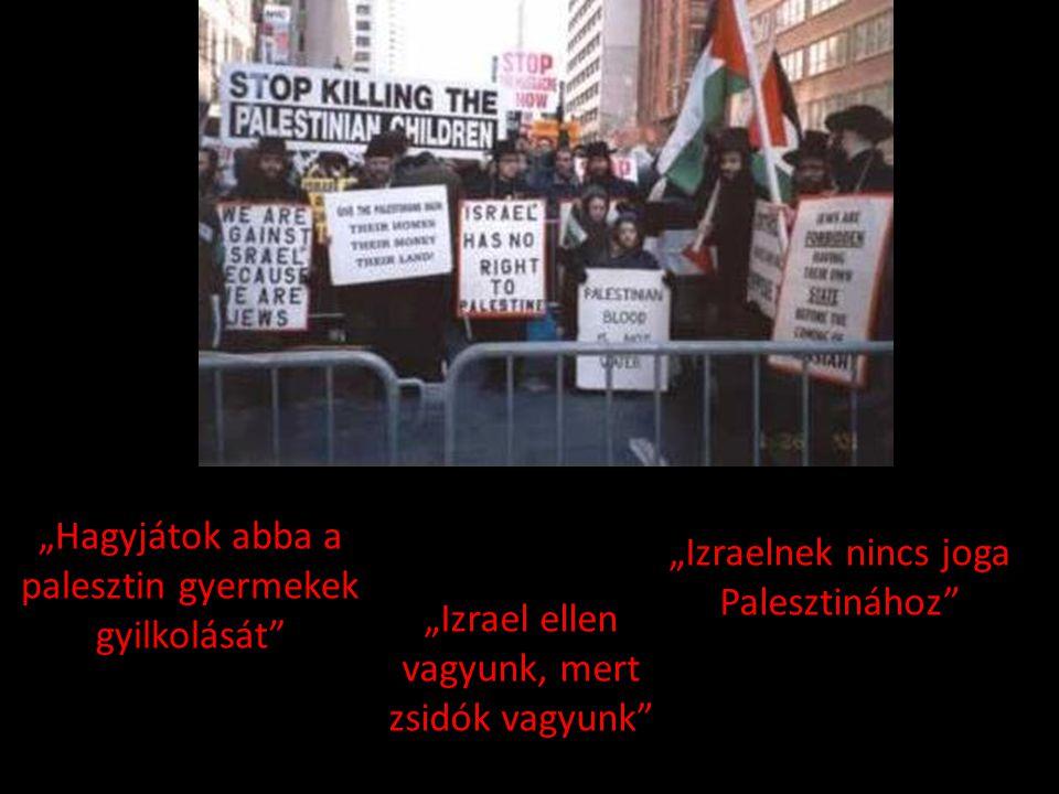 """""""Hagyjátok abba a palesztin gyermekek gyilkolását"""" """"Izrael ellen vagyunk, mert zsidók vagyunk"""" """"Izraelnek nincs joga Palesztinához"""""""