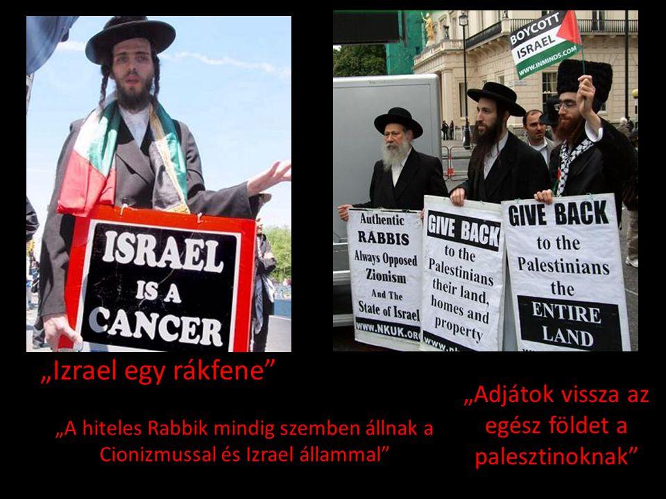 """""""Izrael egy rákfene"""" """"A hiteles Rabbik mindig szemben állnak a Cionizmussal és Izrael állammal"""" """"Adjátok vissza az egész földet a palesztinoknak"""""""