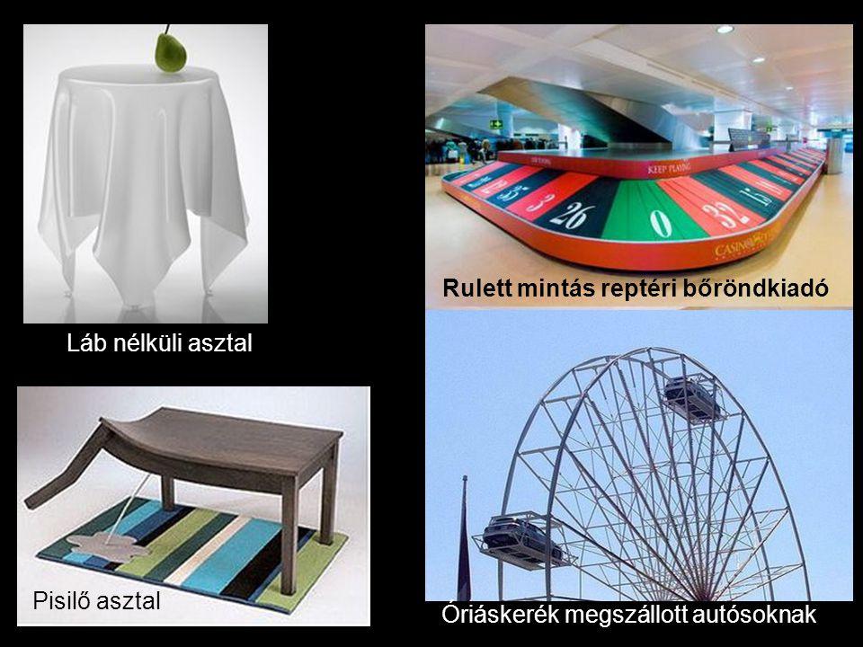 Óriáskerék megszállott autósoknak Rulett mintás reptéri bőröndkiadó Láb nélküli asztal Pisilő asztal