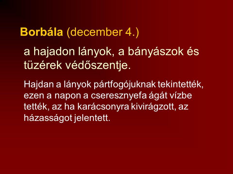 Borbála (december 4.) Hajdan a lányok pártfogójuknak tekintették, ezen a napon a cseresznyefa ágát vízbe tették, az ha karácsonyra kivirágzott, az házasságot jelentett.