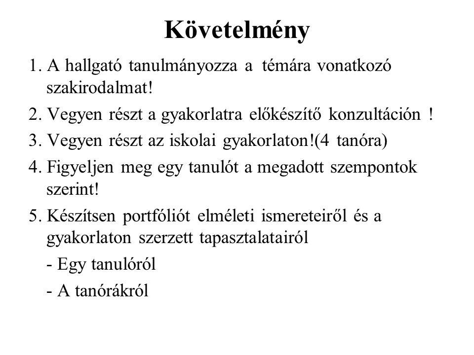 Követelmény 1.A hallgató tanulmányozza a témára vonatkozó szakirodalmat.