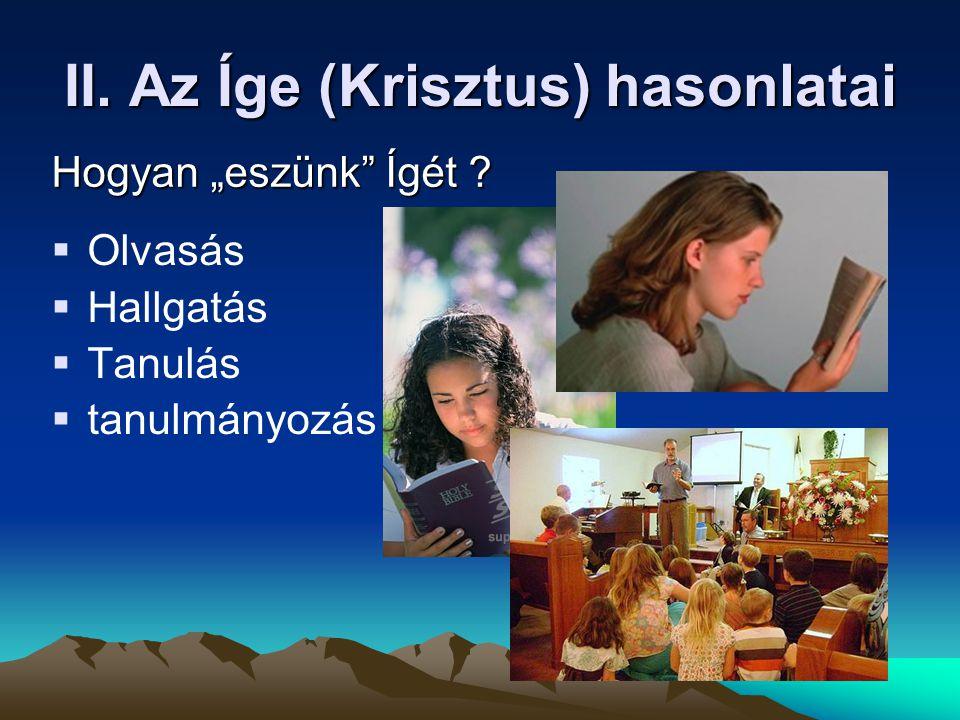 """II. Az Íge (Krisztus) hasonlatai  Olvasás  Hallgatás  Tanulás  tanulmányozás Hogyan """"eszünk"""" Ígét ?"""