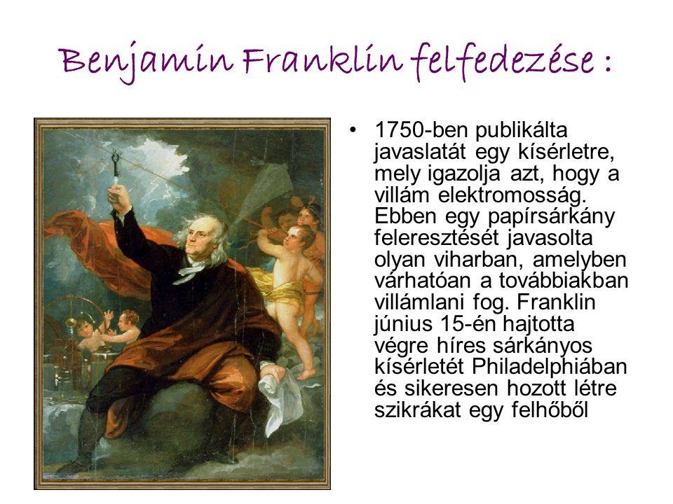 Benjamin Franklin felfedezése : 1750-ben publikálta javaslatát egy kísérletre, mely igazolja azt, hogy a villám elektromosság. Ebben egy papírsárkány