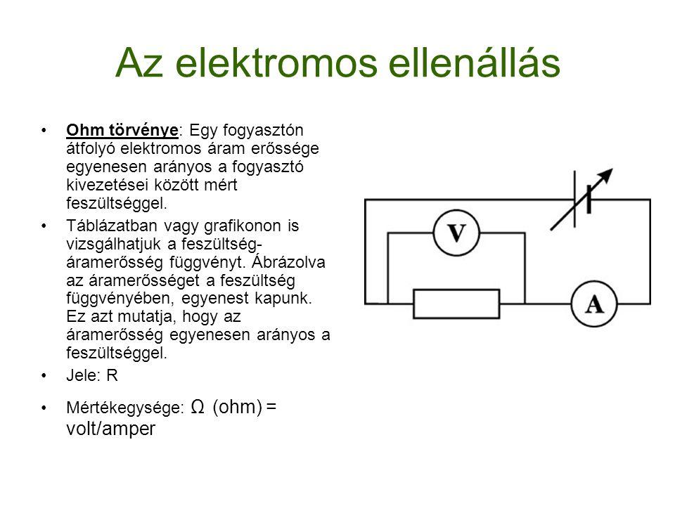 Az elektromos ellenállás Ohm törvénye: Egy fogyasztón átfolyó elektromos áram erőssége egyenesen arányos a fogyasztó kivezetései között mért feszültsé