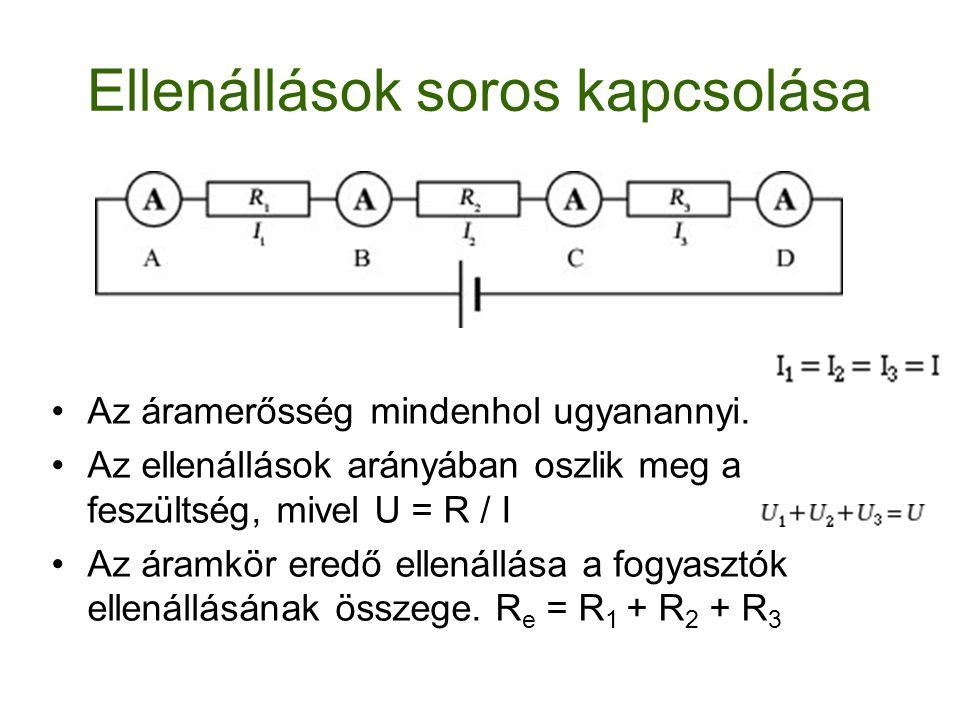 Ellenállások párhuzamos kapcsolása Az áramerősség megoszlik az egyes ágakban A fogyasztók kivezetései között a feszültség egyenlő Az eredő ellenállásra a fentiek alapján az alábbi összefüggés áll fenn: 1/R e = 1/R 1 + 1/R 2 + 1/R 3