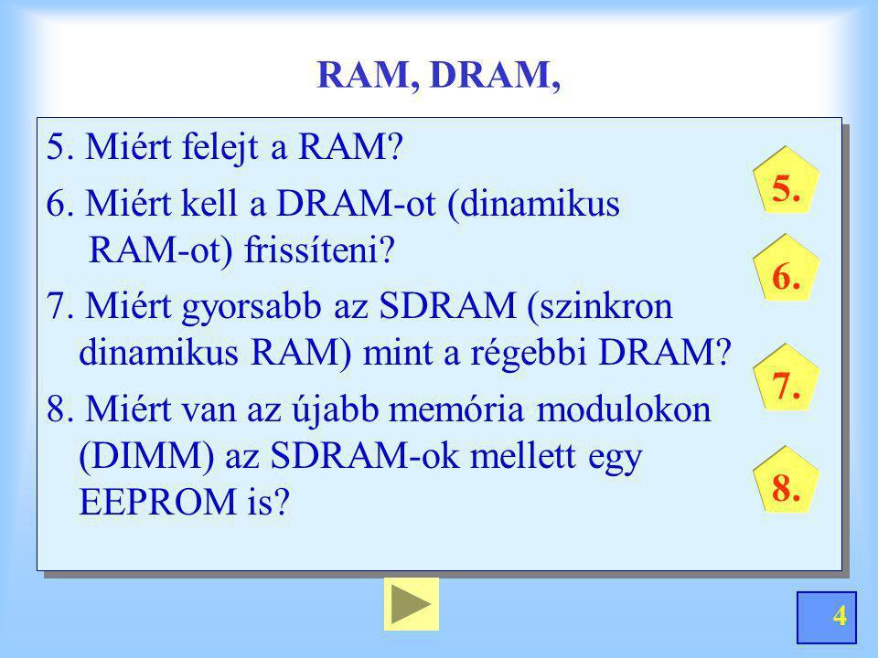 4 RAM, DRAM, 5. Miért felejt a RAM? 6. Miért kell a DRAM-ot (dinamikus RAM-ot) frissíteni? 7. Miért gyorsabb az SDRAM (szinkron dinamikus RAM) mint a