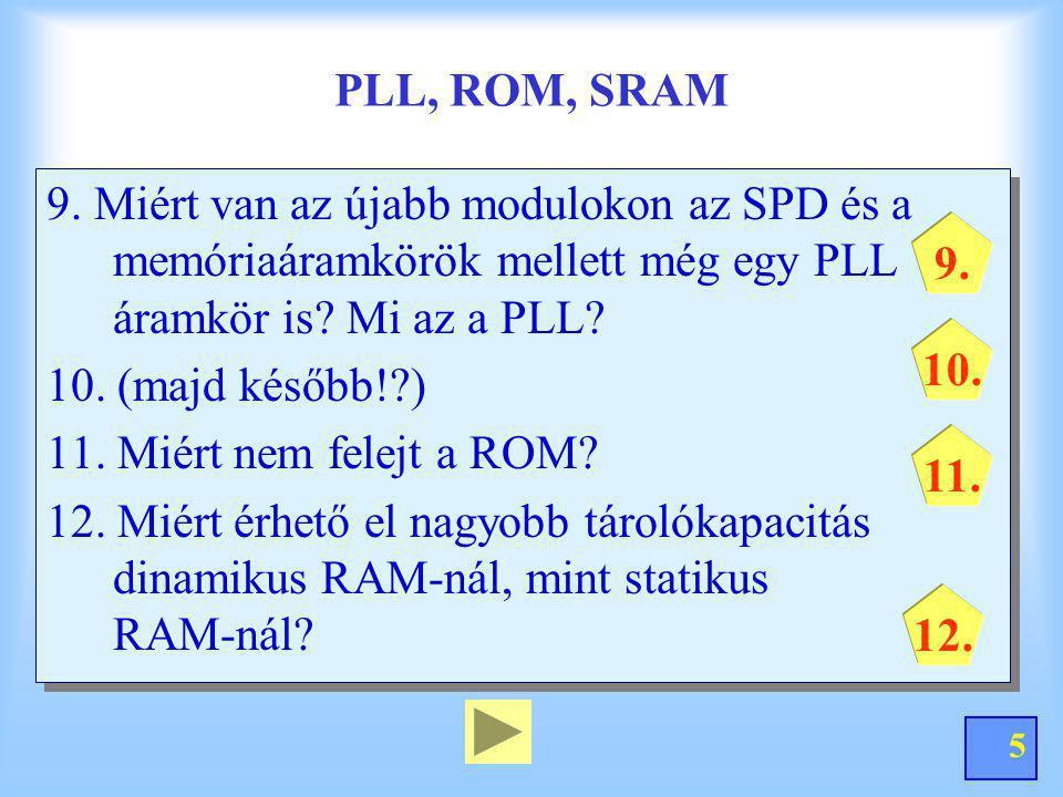 5 PLL, ROM, SRAM 9. Miért van az újabb modulokon az SPD és a memóriaáramkörök mellett még egy PLL áramkör is? Mi az a PLL? 10. (majd később!?) 11. Mié