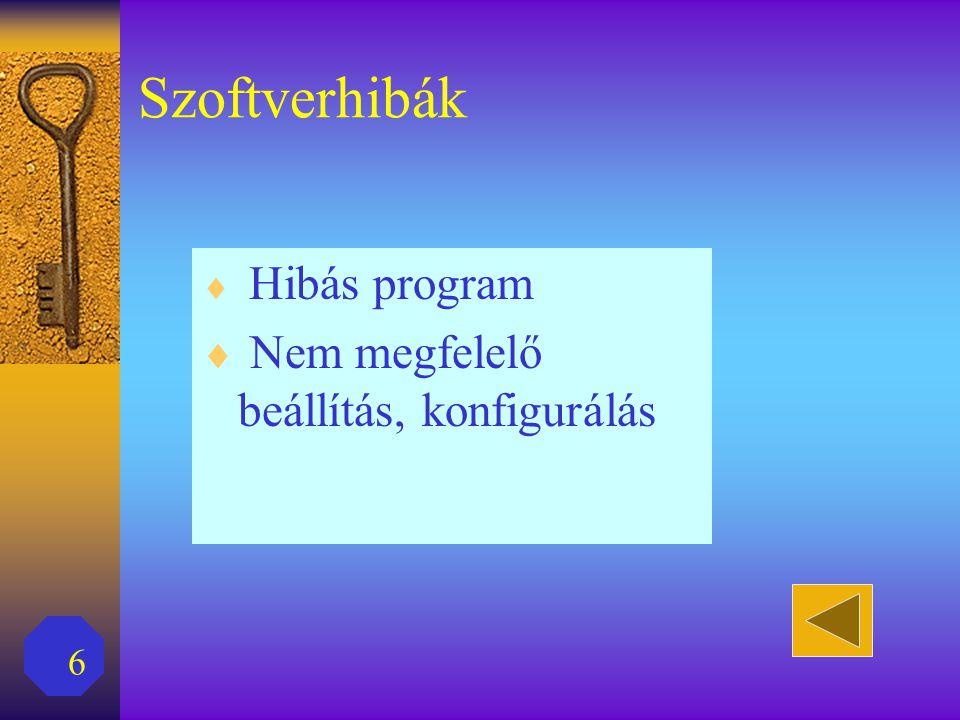 6 Szoftverhibák  Hibás program  Nem megfelelő beállítás, konfigurálás