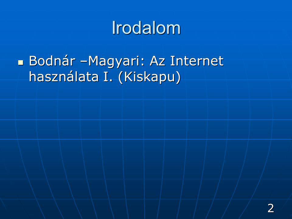 2 Irodalom Bodnár –Magyari: Az Internet használata I. (Kiskapu) Bodnár –Magyari: Az Internet használata I. (Kiskapu)