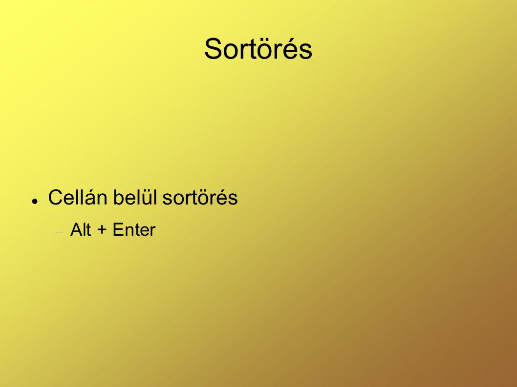 Sortörés Cellán belül sortörés  Alt + Enter