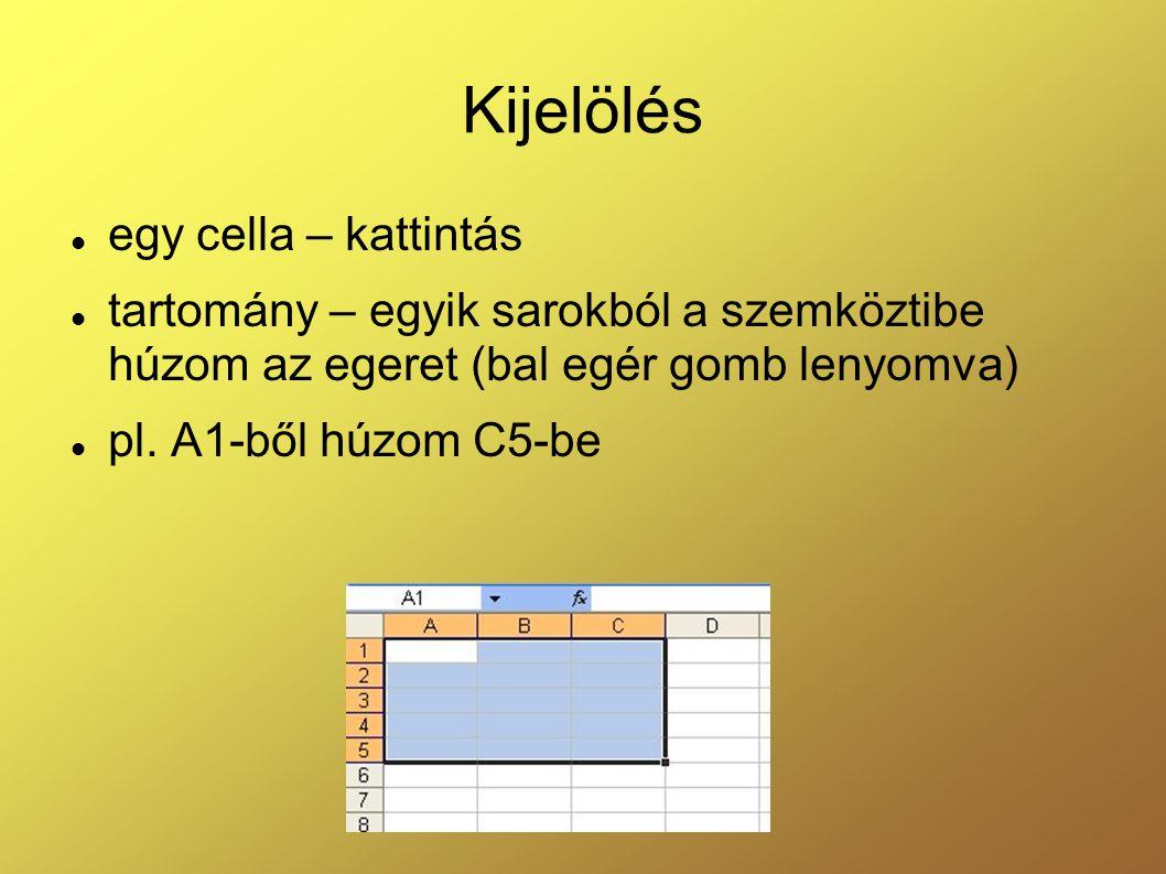 Kijelölés egy cella – kattintás tartomány – egyik sarokból a szemköztibe húzom az egeret (bal egér gomb lenyomva) pl. A1-ből húzom C5-be