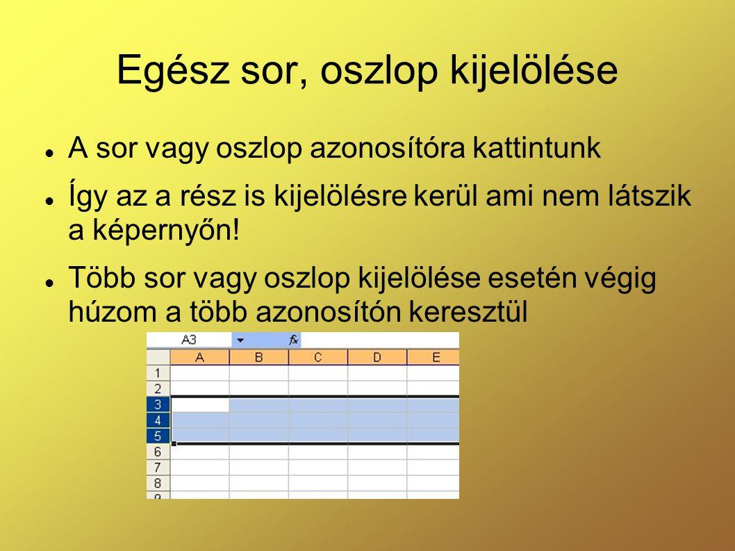 Egész sor, oszlop kijelölése A sor vagy oszlop azonosítóra kattintunk Így az a rész is kijelölésre kerül ami nem látszik a képernyőn! Több sor vagy os