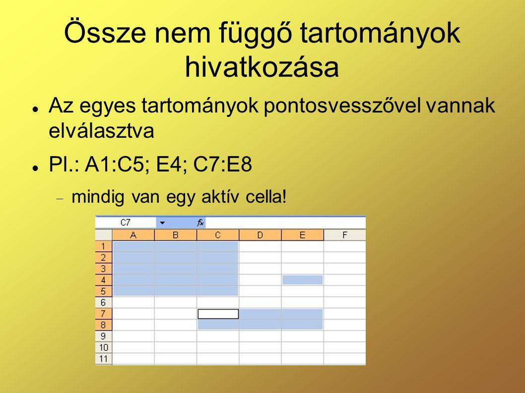Össze nem függő tartományok hivatkozása Az egyes tartományok pontosvesszővel vannak elválasztva Pl.: A1:C5; E4; C7:E8  mindig van egy aktív cella!