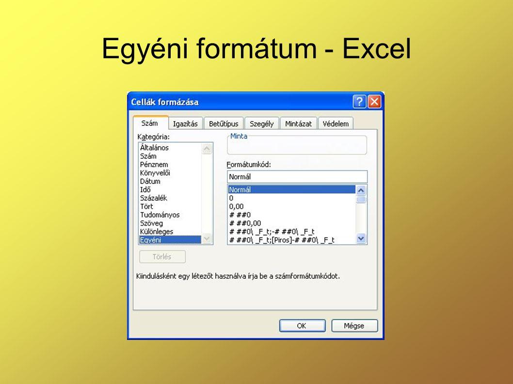 Egyéni formátum - Excel