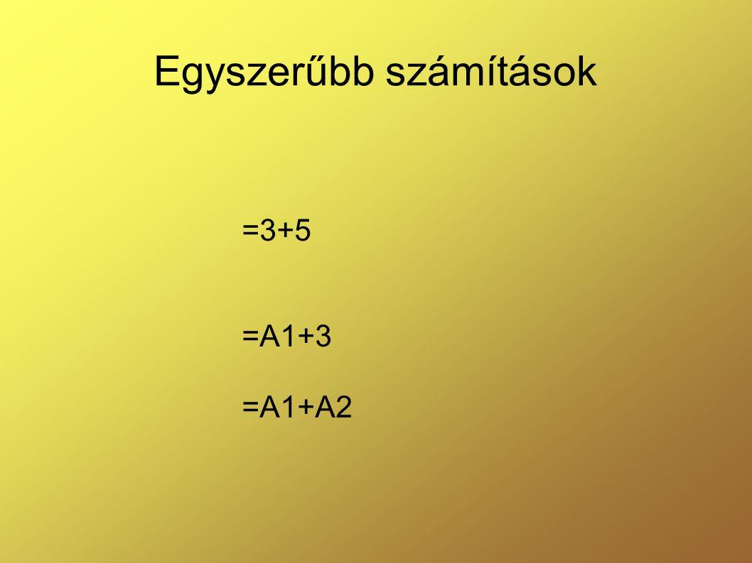 Egyszerűbb számítások =3+5 =A1+3 =A1+A2