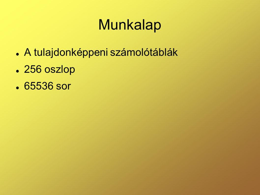 Munkalap A tulajdonképpeni számolótáblák 256 oszlop 65536 sor