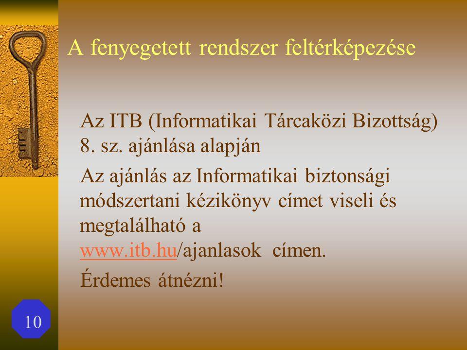 10 A fenyegetett rendszer feltérképezése Az ITB (Informatikai Tárcaközi Bizottság) 8.