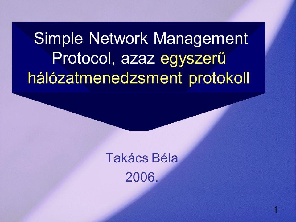 1 Simple Network Management Protocol, azaz egyszerű hálózatmenedzsment protokoll Takács Béla 2006.