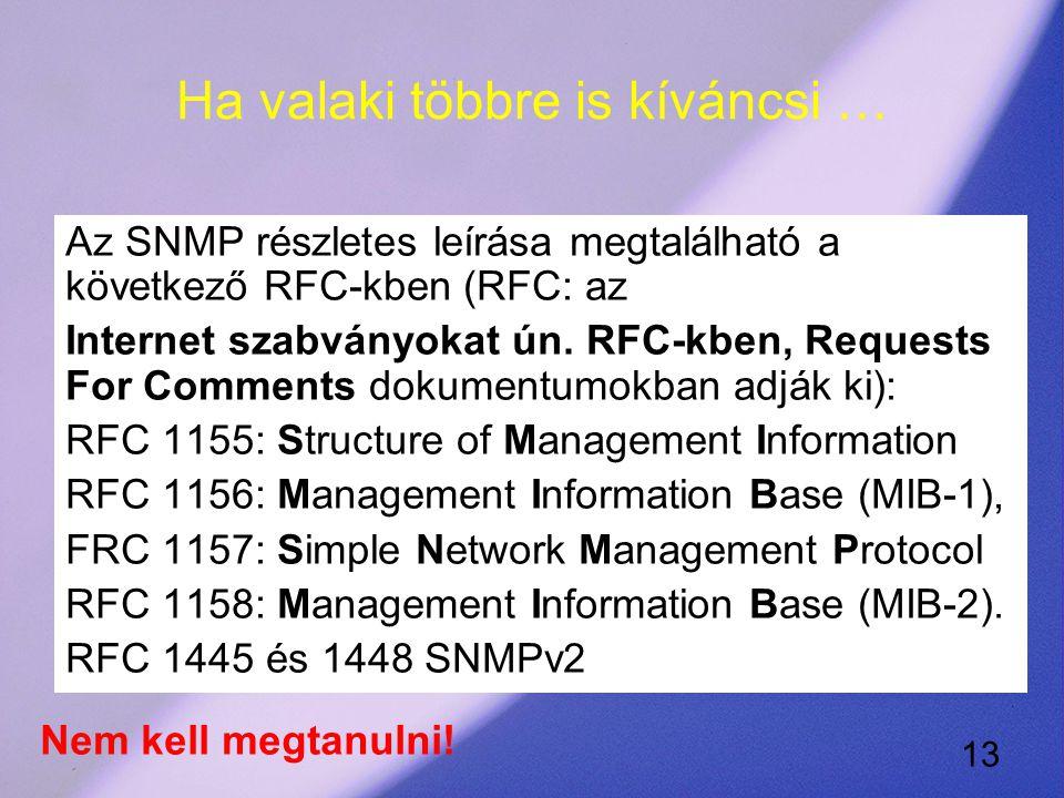 13 Ha valaki többre is kíváncsi … Az SNMP részletes leírása megtalálható a következő RFC-kben (RFC: az Internet szabványokat ún.