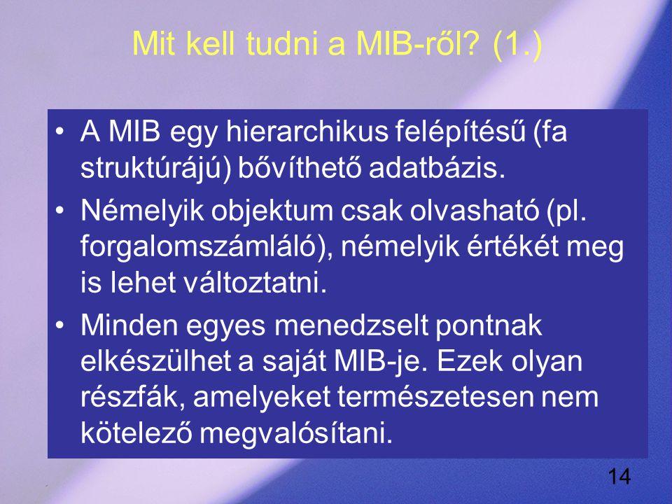 14 Mit kell tudni a MIB-ről.