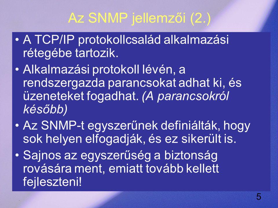 5 Az SNMP jellemzői (2.) A TCP/IP protokollcsalád alkalmazási rétegébe tartozik.