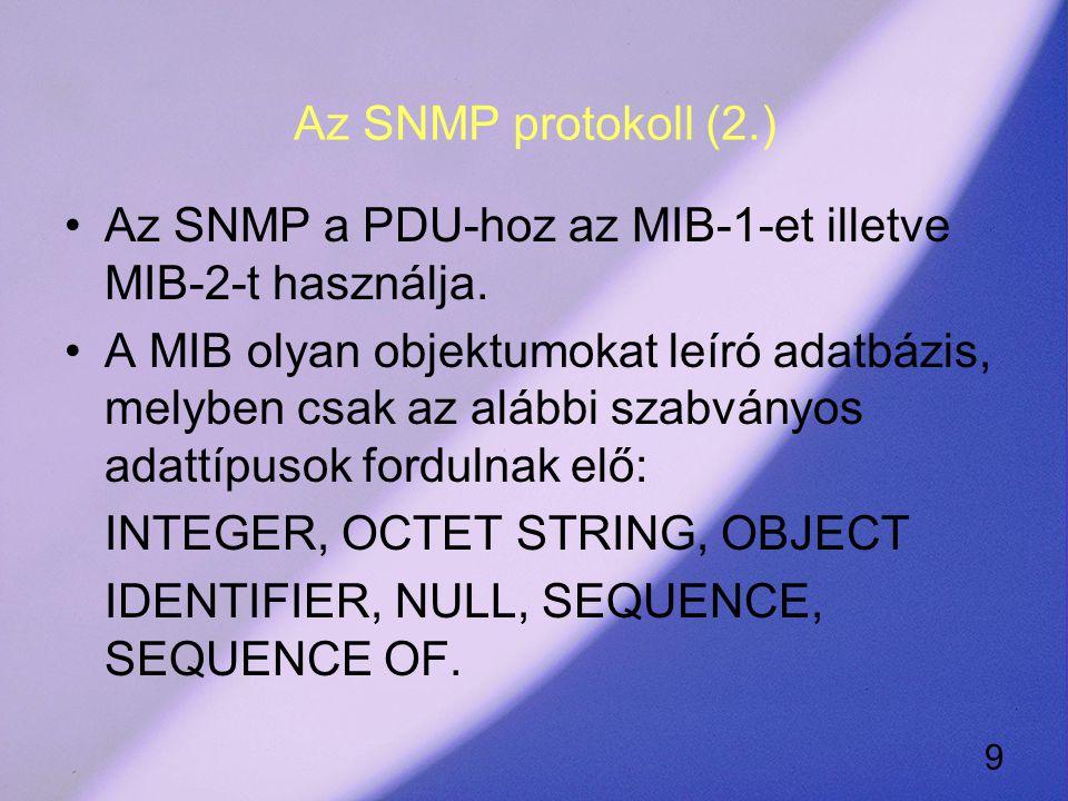 9 Az SNMP protokoll (2.) Az SNMP a PDU-hoz az MIB-1-et illetve MIB-2-t használja.