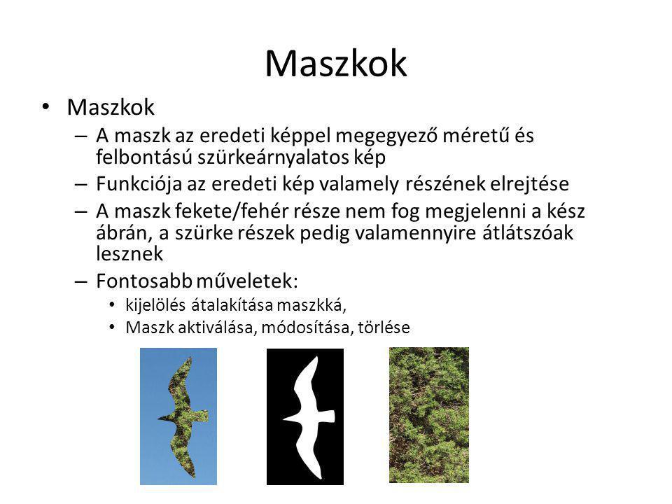 Maszkok – A maszk az eredeti képpel megegyező méretű és felbontású szürkeárnyalatos kép – Funkciója az eredeti kép valamely részének elrejtése – A mas