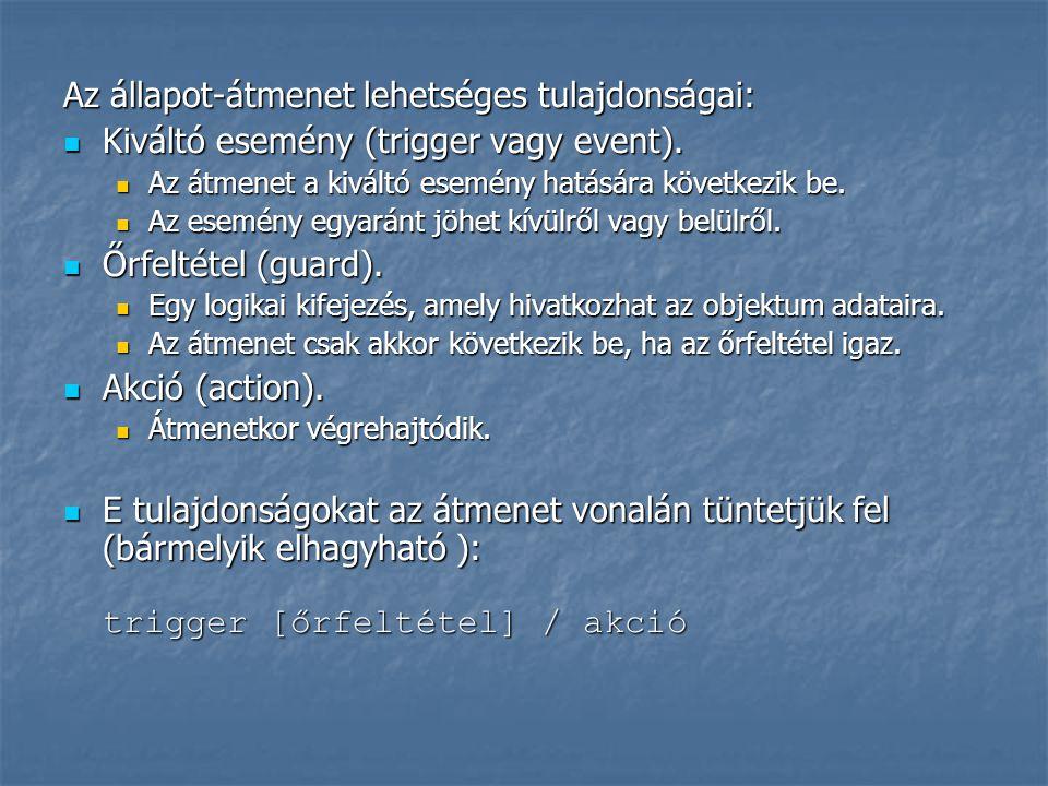 Az állapot-átmenet lehetséges tulajdonságai: Kiváltó esemény (trigger vagy event). Kiváltó esemény (trigger vagy event). Az átmenet a kiváltó esemény