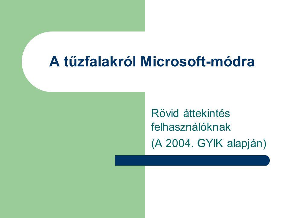 A tűzfalakról Microsoft-módra Rövid áttekintés felhasználóknak (A 2004. GYIK alapján)