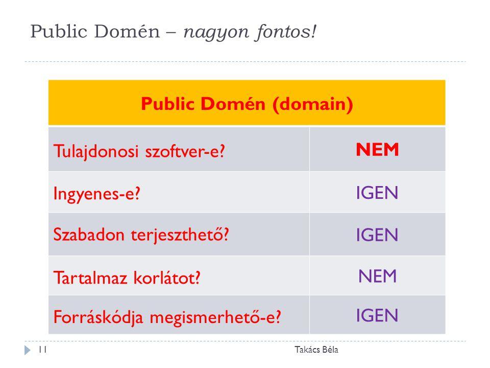 Public Domén – nagyon fontos! Takács Béla11 Public Domén (domain) Tulajdonosi szoftver-e? NEM Ingyenes-e? IGEN Szabadon terjeszthető? IGEN Tartalmaz k