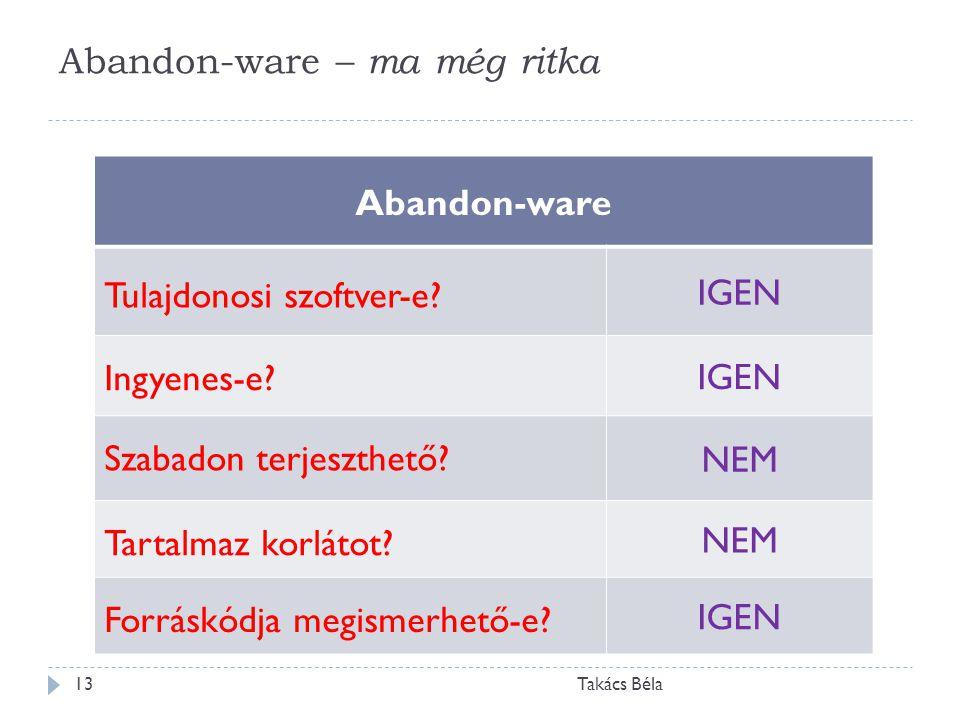 Abandon-ware – ma még ritka Takács Béla13 Abandon-ware Tulajdonosi szoftver-e? IGEN Ingyenes-e? IGEN Szabadon terjeszthető? NEM Tartalmaz korlátot? NE