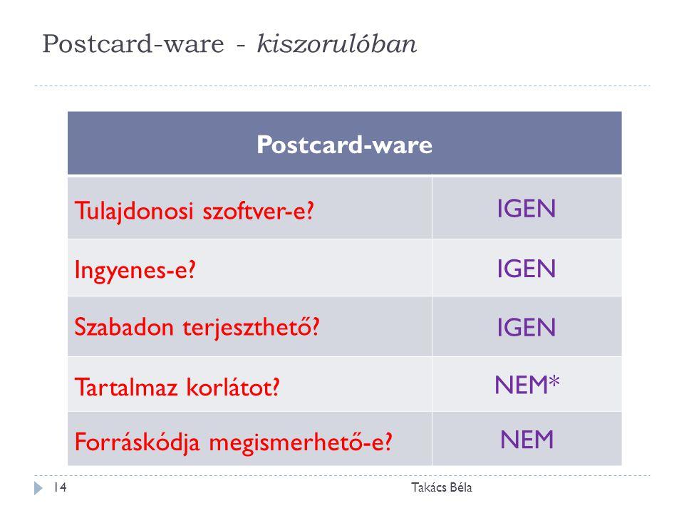 Postcard-ware - kiszorulóban Takács Béla14 Postcard-ware Tulajdonosi szoftver-e? IGEN Ingyenes-e? IGEN Szabadon terjeszthető? IGEN Tartalmaz korlátot?