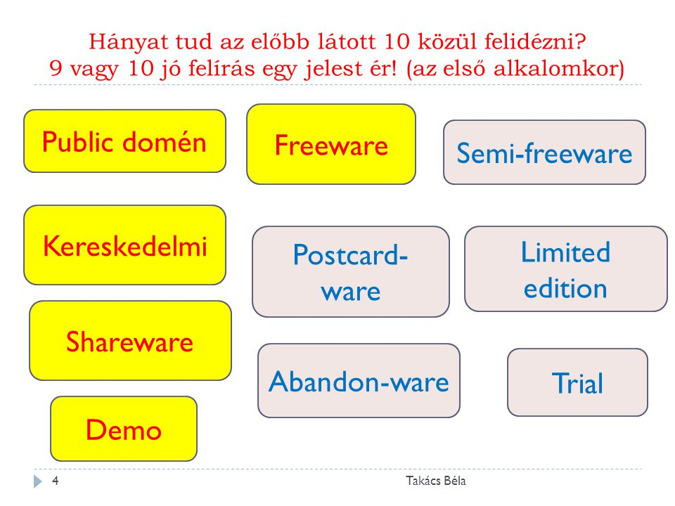Hányat tud az előbb látott 10 közül felidézni? 9 vagy 10 jó felírás egy jelest ér! (az első alkalomkor) Takács Béla4 Kereskedelmi Public domén Sharewa