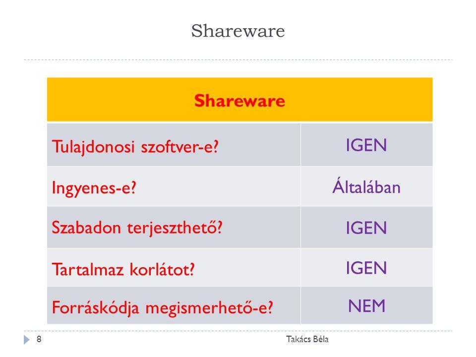 Shareware Takács Béla8 Shareware Tulajdonosi szoftver-e? IGEN Ingyenes-e? Általában Szabadon terjeszthető? IGEN Tartalmaz korlátot? IGEN Forráskódja m