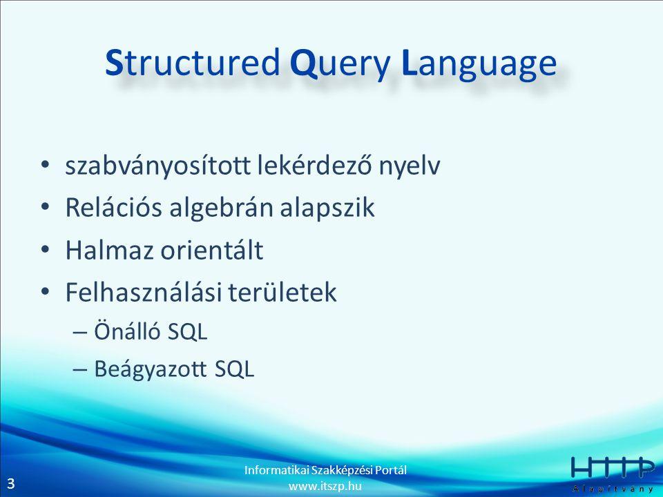 3 Informatikai Szakképzési Portál www.itszp.hu Structured Query Language szabványosított lekérdező nyelv Relációs algebrán alapszik Halmaz orientált Felhasználási területek – Önálló SQL – Beágyazott SQL