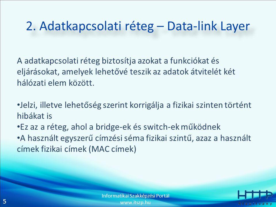 5 Informatikai Szakképzési Portál www.itszp.hu 2. Adatkapcsolati réteg – Data-link Layer A adatkapcsolati réteg biztosítja azokat a funkciókat és eljá