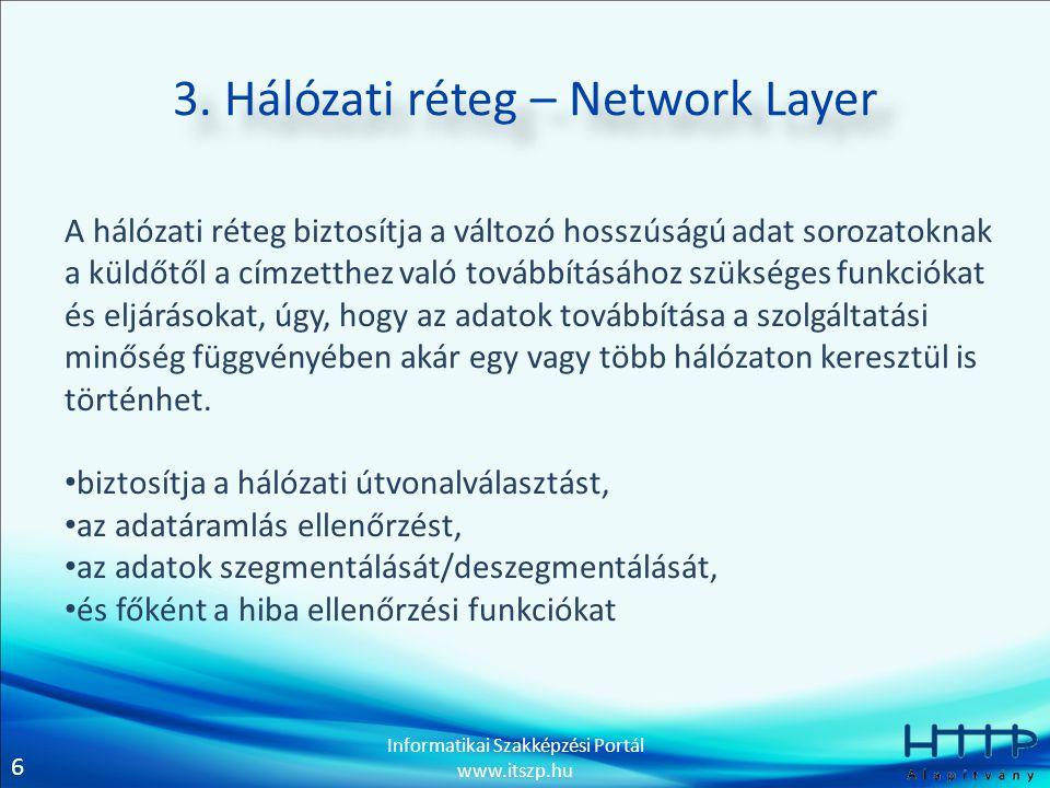 6 Informatikai Szakképzési Portál www.itszp.hu 3. Hálózati réteg – Network Layer A hálózati réteg biztosítja a változó hosszúságú adat sorozatoknak a