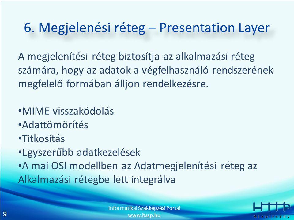 9 Informatikai Szakképzési Portál www.itszp.hu 6. Megjelenési réteg – Presentation Layer A megjelenítési réteg biztosítja az alkalmazási réteg számára