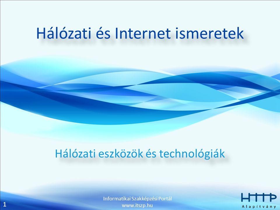 2 Informatikai Szakképzési Portál www.itszp.hu Csatolóelemek Az összekötés céljainak függvényében különböző csatolóelemek alkalmazhatók.