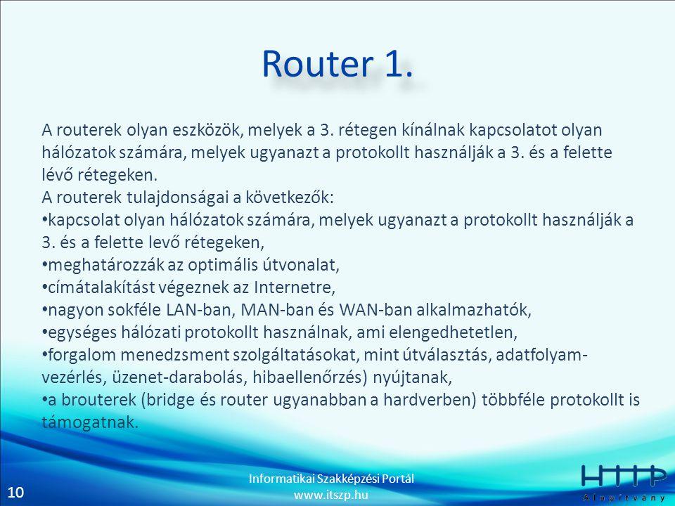 10 Informatikai Szakképzési Portál www.itszp.hu Router 1.