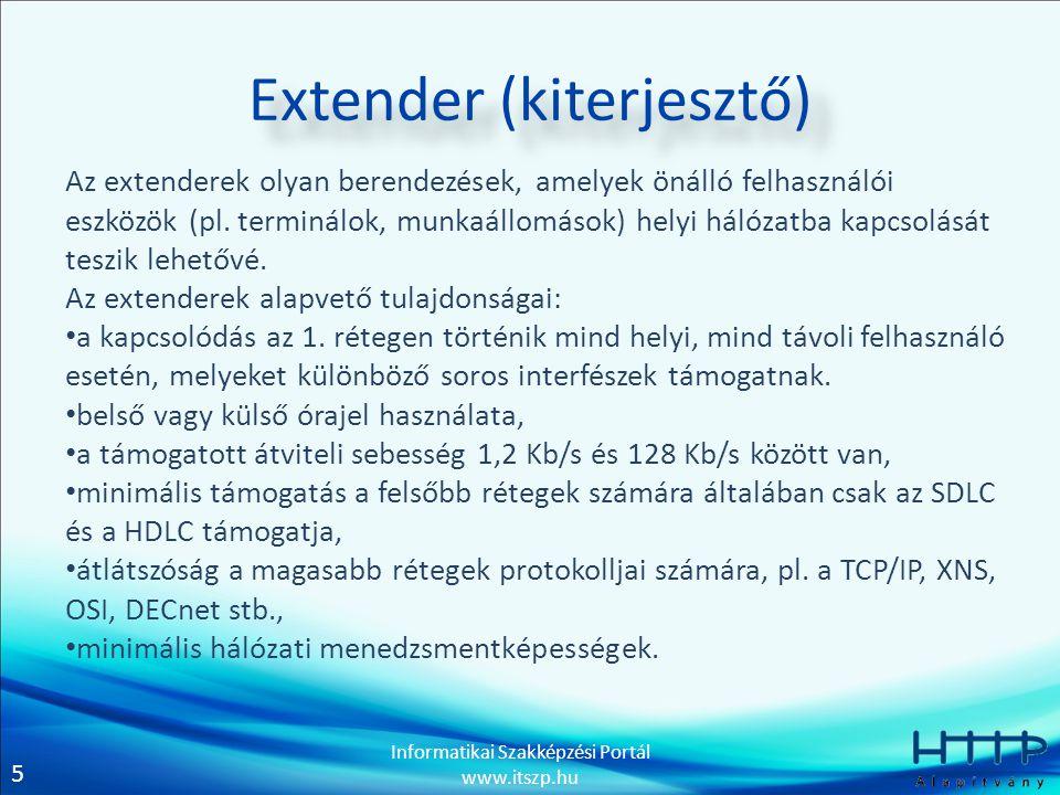 5 Informatikai Szakképzési Portál www.itszp.hu Extender (kiterjesztő) Az extenderek olyan berendezések, amelyek önálló felhasználói eszközök (pl.