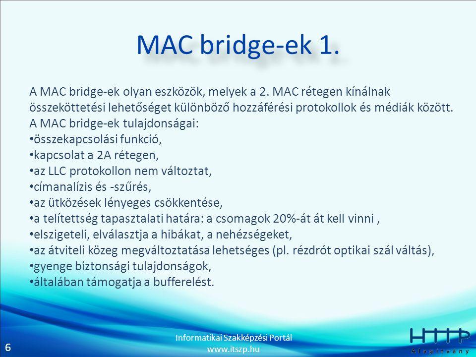 7 Informatikai Szakképzési Portál www.itszp.hu MAC bridge-ek 2.