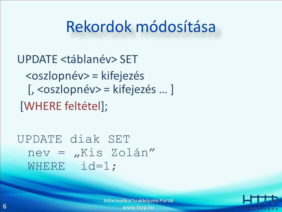 """7 Informatikai Szakképzési Portál www.itszp.hu Rekordok módosítása UPDATE diak SET szul_hely = """"Budapest ; UPDATE diak SET szul_hely = """"Budapest WHERE id=5; UPDATE diak SET szul_hely = """"Budapest WHERE szul_ido='1988-09-12';"""