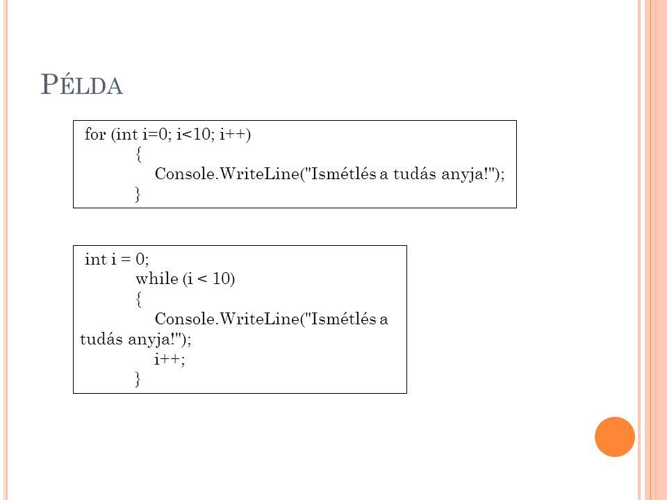 P ÉLDA for (int i=0; i<10; i++) { Console.WriteLine(