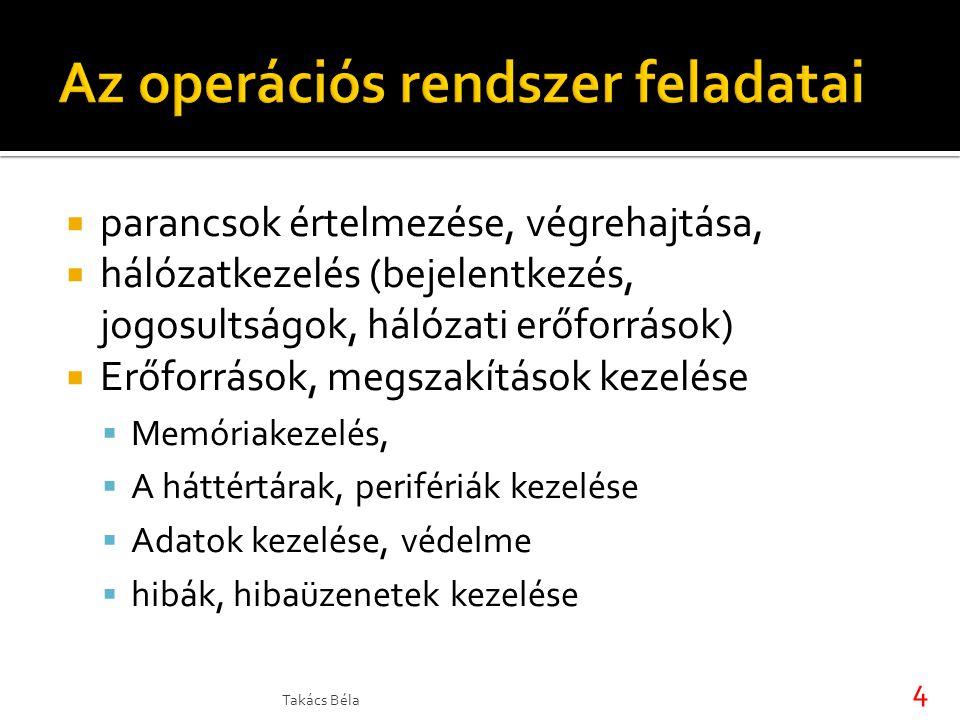  parancsok értelmezése, végrehajtása,  hálózatkezelés (bejelentkezés, jogosultságok, hálózati erőforrások)  Erőforrások, megszakítások kezelése  M